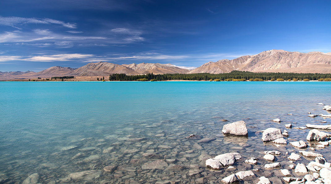 Lake Tekapo with amazing turquoise color, Southern Island, New Zealand, 1280x713px