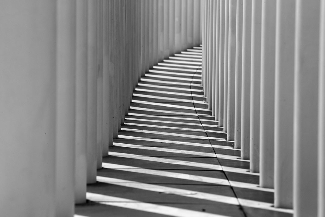 White Columns with Shadows of the Philharmonie in Luxembourg, Black and White Picture,  1280x853px