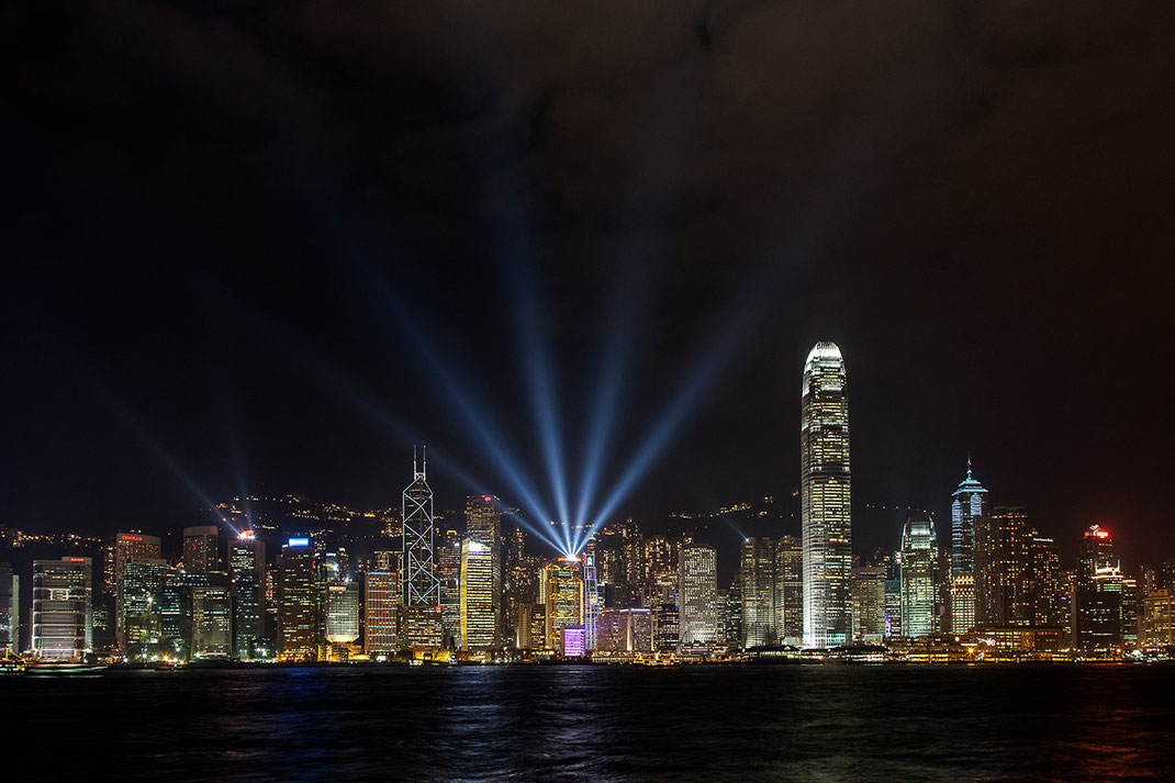 Beautiful illuminated Hongkong skyline at night with laser show, Kowloon, China, Asia, 1280x853px