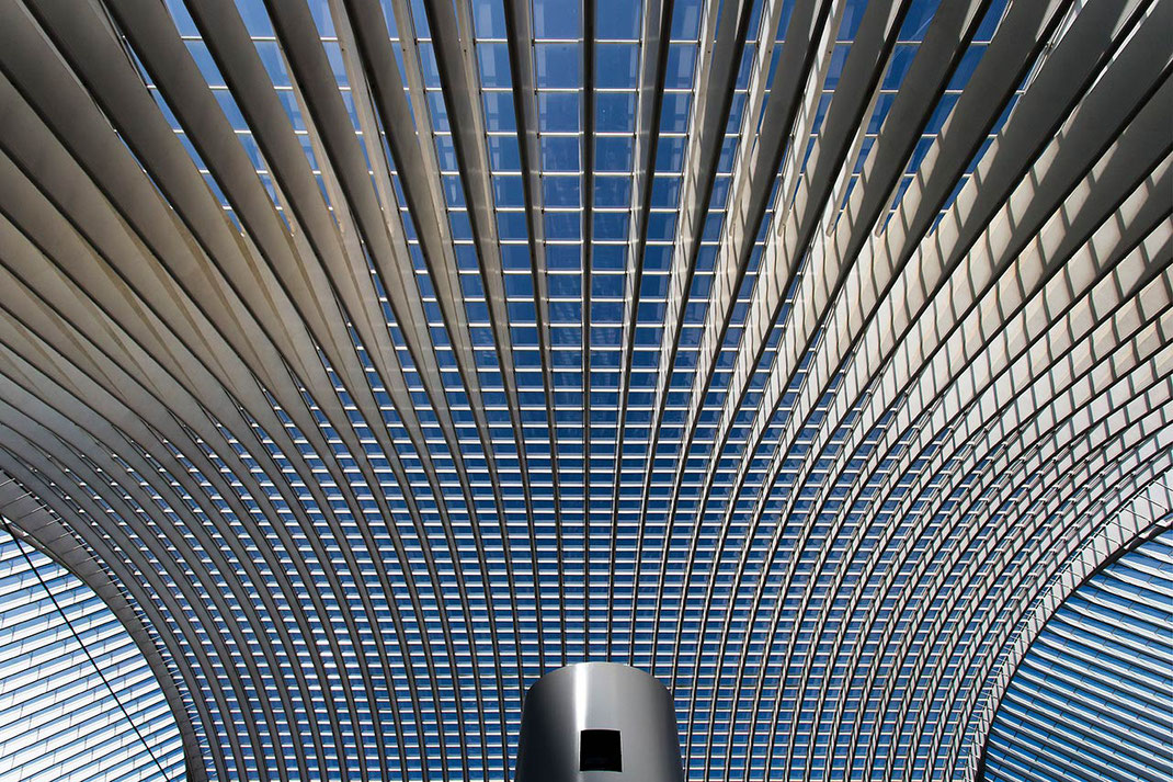 Guillemins Train Station in Liege, Modern Roof with Glas, Shades and Blue Sky, Belgium, Europe, 1280x853px