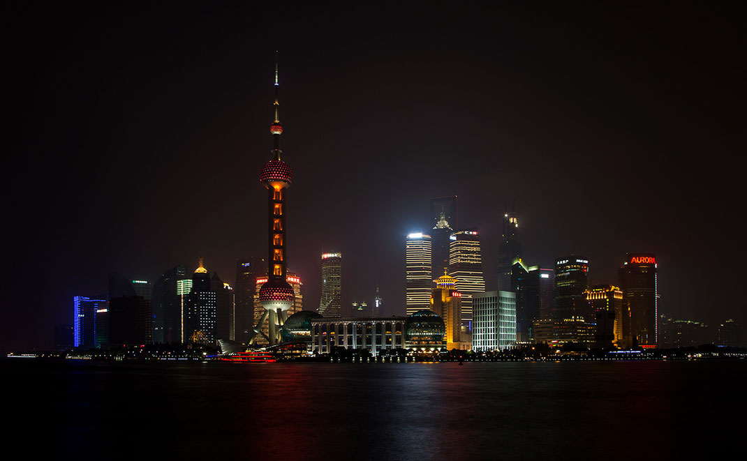 Skyline Shanghai as seen from the bend, Viewpoint, Long Exposure Night, Illuminated Skyscrapers, China, Asia, 1280x791px