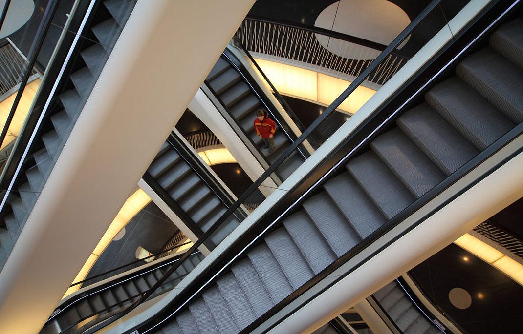 Maze of Escalators in the My Zeil Shopping Mall, Frankfurt, Germany, 1280x820px