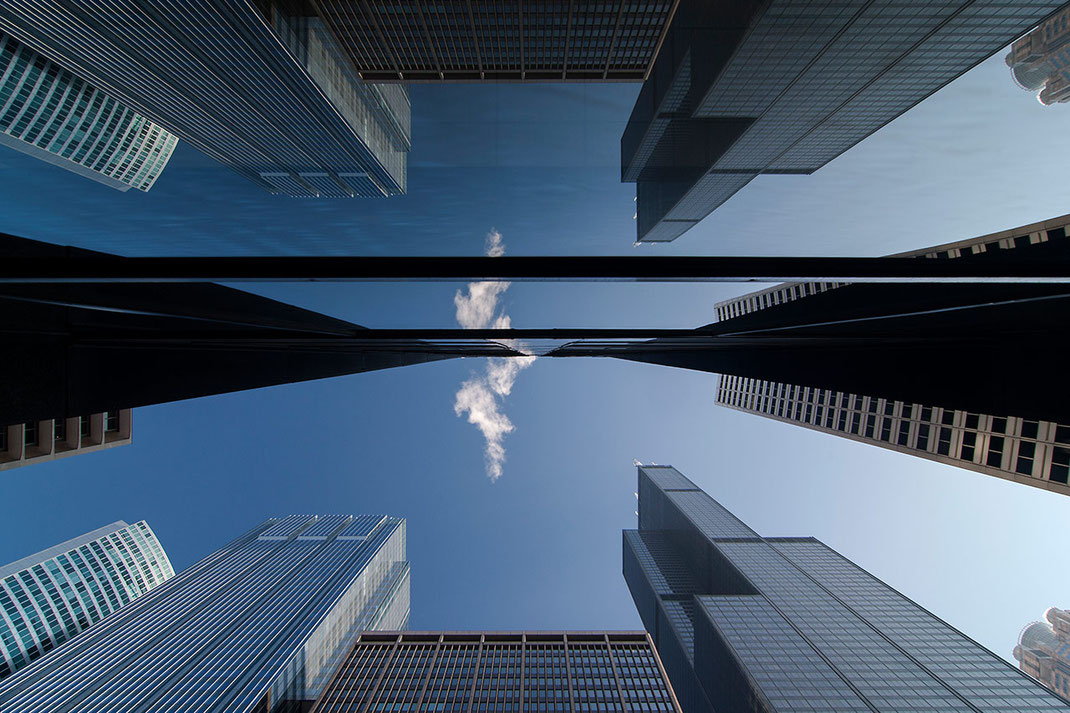 Downtown Chicago Willis Tower Reflection in Glas Window, Skyscrapers, Chicago, Illinois, USA, 1280x853px