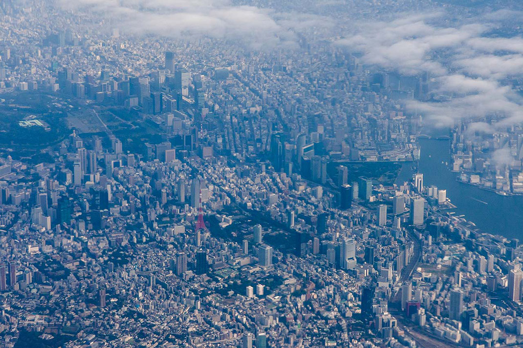 Air view of Tokyo City Center with Imperial Palace and Tokyo Tower, Japan, Asia, 1280x853px