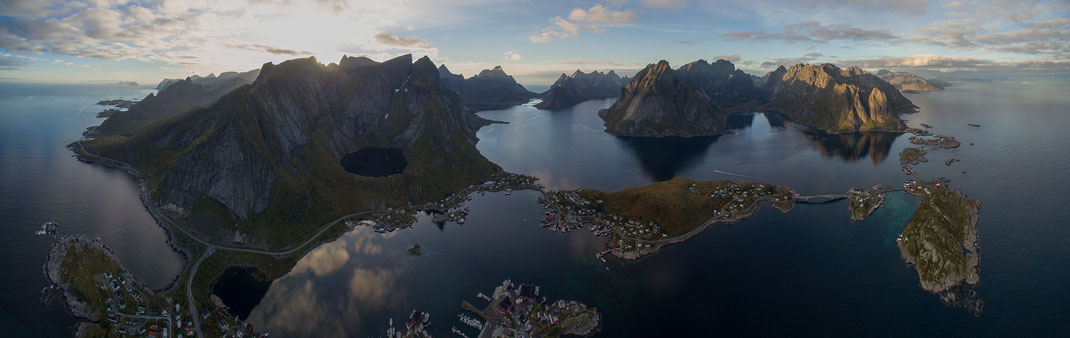 Reine, Lofoten, Aerial Picture with Dji Phantom, Drone, Germany, Panorama, 3000x526px