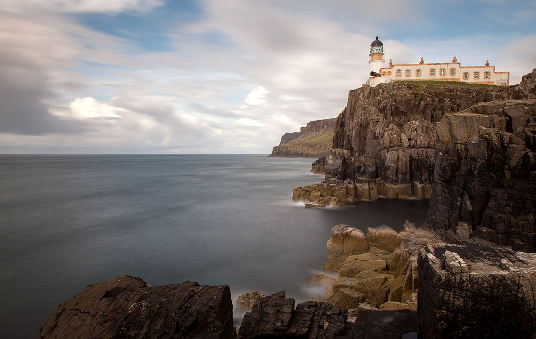 Neist Point Lighthouse on a cliff with ocean Iisle of Skye, Scotland, Long Exposure, 1280x810px