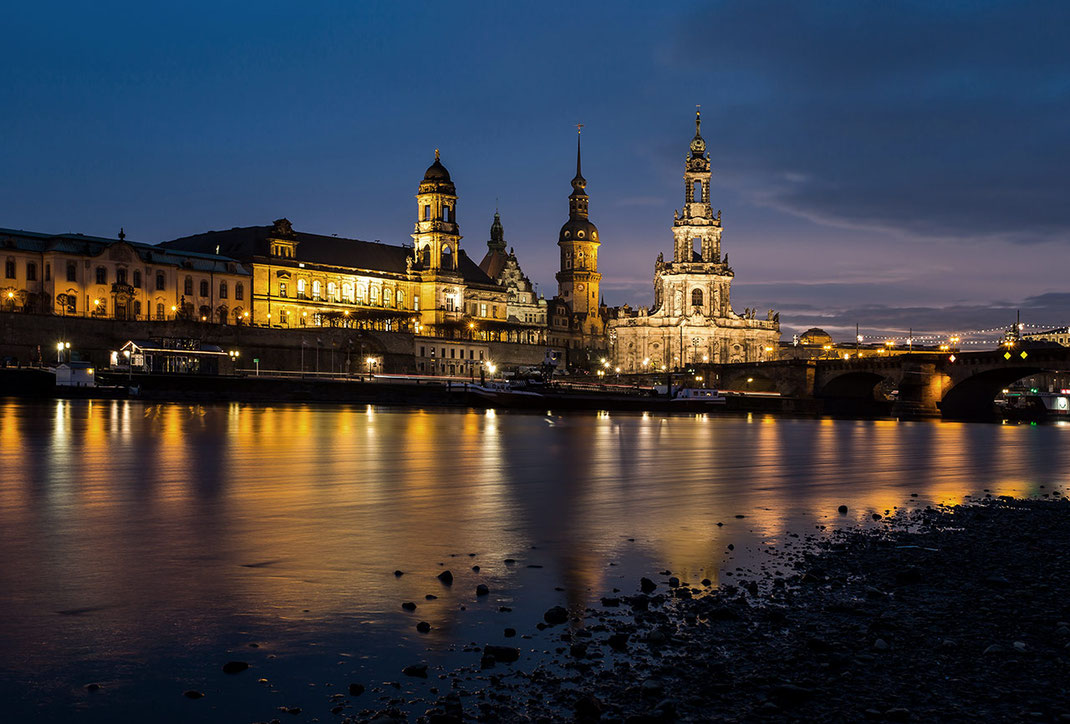 Historical Dresden at blue hour with river Elbe, long exposure, Dresden, Saxony, Germany, Europe