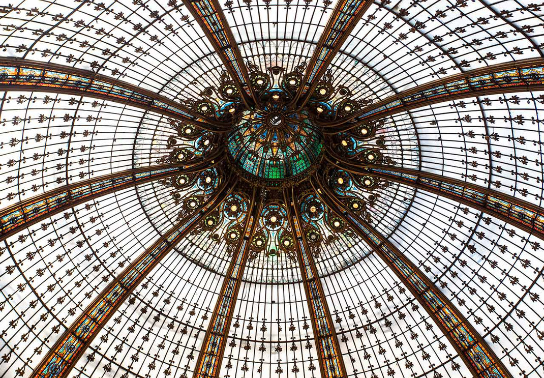 Beautiful Art Deco Roof, Galerie la Fayette, Shopping Center, Paris, France