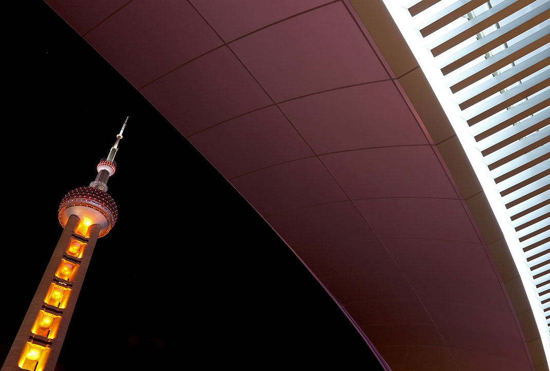 Illuminated Pearl Tower in Shanghai and a pedestrian bridge, long exposure architecture phtography, China, 1280x863px