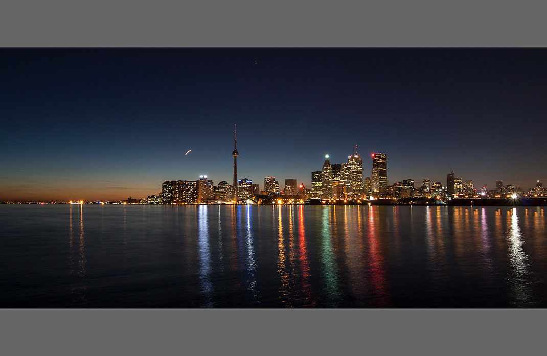 Downtown Toronto Night Long Exposure as seen from Portlands, Illuminated Skyscrapers, Canada, 1280x834px