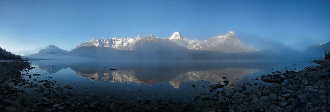 Sunrise snowy mountains and foggy lake, Waterfowl Lakes, Banff National Park, Canada, Panorama, 3000x1020px