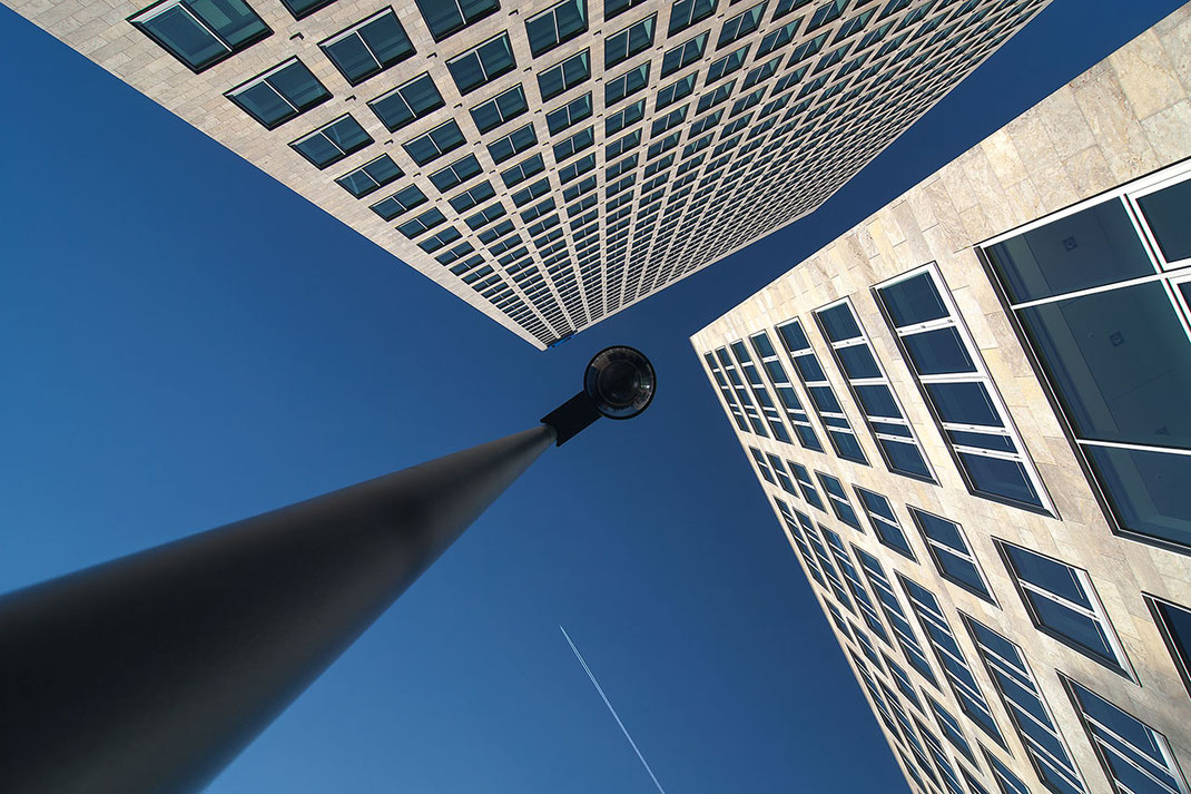 Observation Camera and Modern Office Building a Plane Trail and Blue Sky, Frankfurt, Germany, 1280x853px