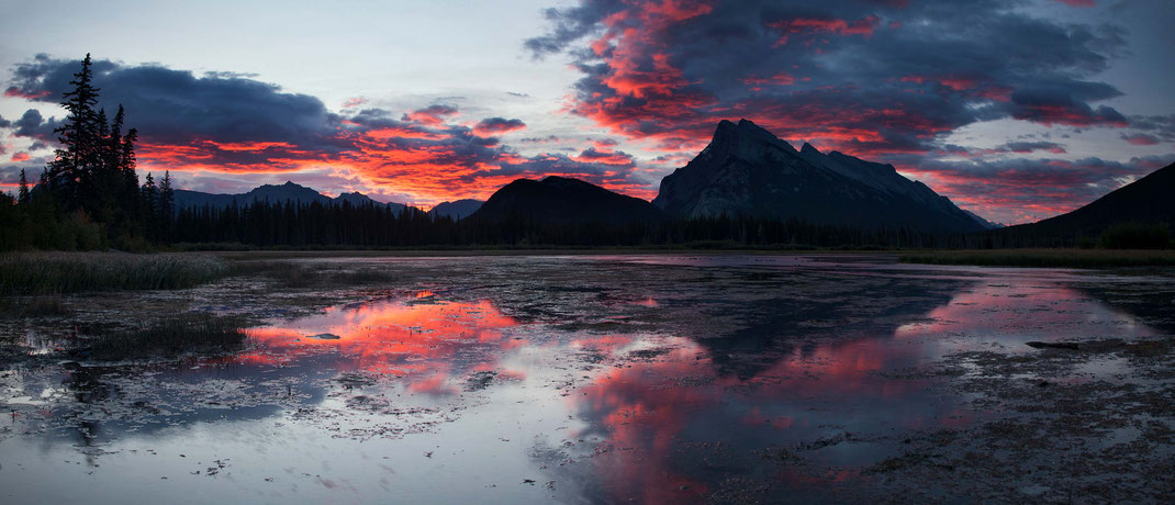 Colorful Sunrise at the Vermillion Lakes, Banff National Park, Alberta, Canada, Panorama, 3000x1291px