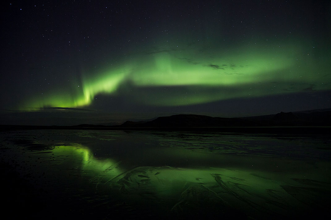 Aurora Borealis, Northern Lights at Dyrholavegur, Reflection in the Lagoon, Iceland, 1280x853px
