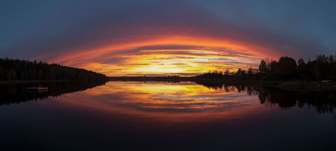 Colorful Sunset at a Lake in Southern Sweden, Scandinavia, Panorama, 3000x1352px