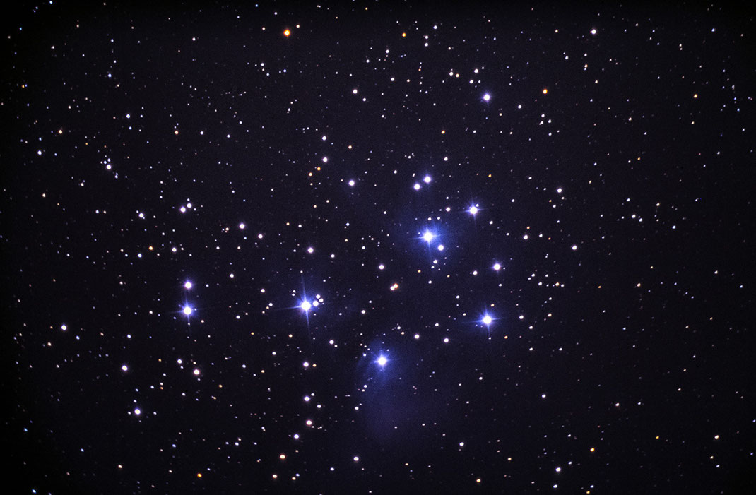 Pleiades Open Star Cluster, Vixen R200SS Telescope, Scan from Slide Film, Kodak Elite Chrome, 1280x839px