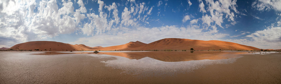 Sossusvlei Sand Dunes Reflections in the water from the Rain, Namib Naukluft Park, Namibia, Panorama, 3000x904px