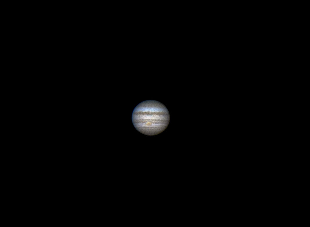 Jupiter Gas Giant with Clouds and Great Red Spot, Celestron 8 Telescope, TUCam, Webcam, 1280x938px