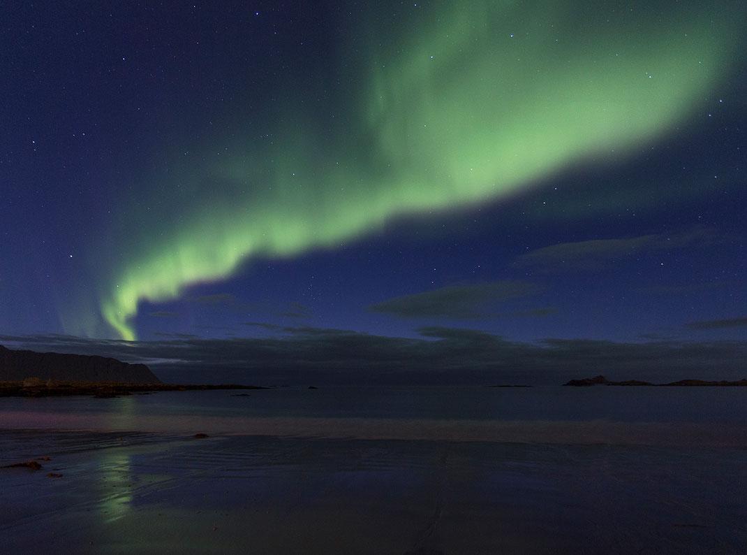 Amazing Green Northern Light, Aurora Borealis reflecting on a beach, Lofoten Islands, Norway, 1280x950px