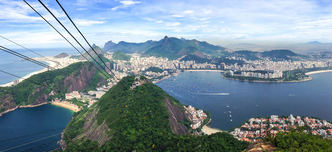 View from Sugar Loaf to Rio de Janeiro with beaches, mountains and Christ statue, Cristo Redentor, Brazil, 2789x1280px