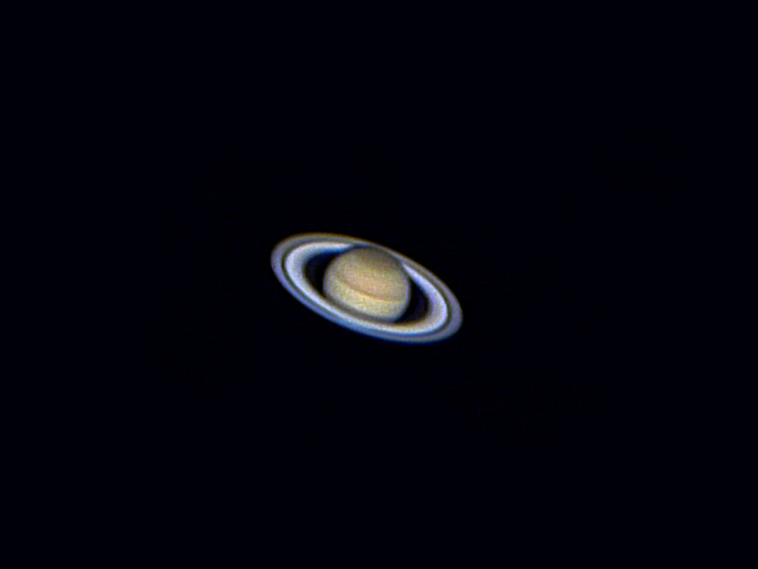 Saturn with prominent clouds and details of the rings, Celestron 8, TUCam Pro, Webcam, 1280x960px
