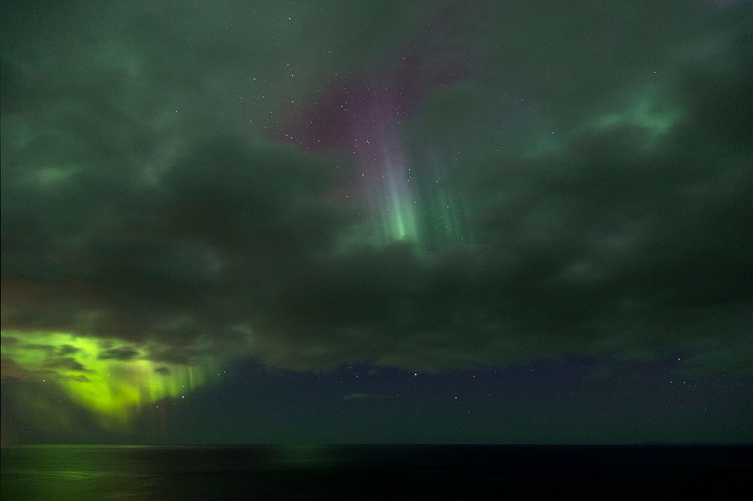 Light curtains through clouds, Aurora Borealis, Northern Lights at Snaefellsnes, Grundarfjördur, 1280x853px