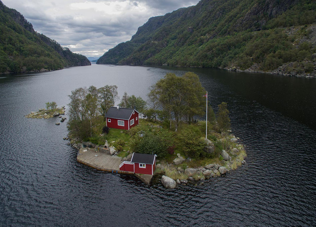 Norway Solitaire Traditional Wood House on an Island, Lovrafjorden, Dji Phantom, Drone, 1280x916px