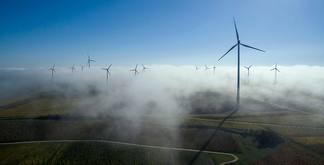 Wind Energy and Autumn Fog with Sunshine, Wine Region, Dji Phantom, Drone, Germany, 1280x652px