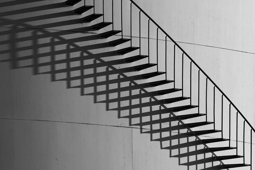 Metal Stairs of a Fuel Tank with Shadows, Frankfurt, Germany, 1280x853px