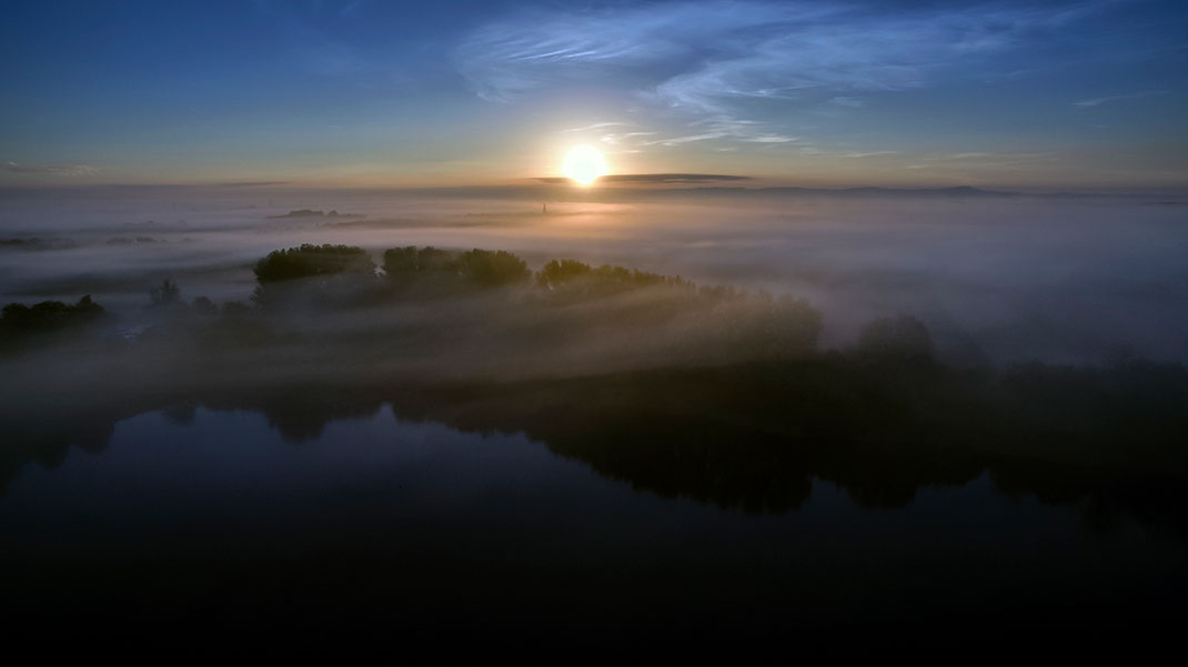 Beautiful sunrise with fog layers and church tower at the Leeheim lakes, Dji Phantom, Drone, Germany, 1280x719px