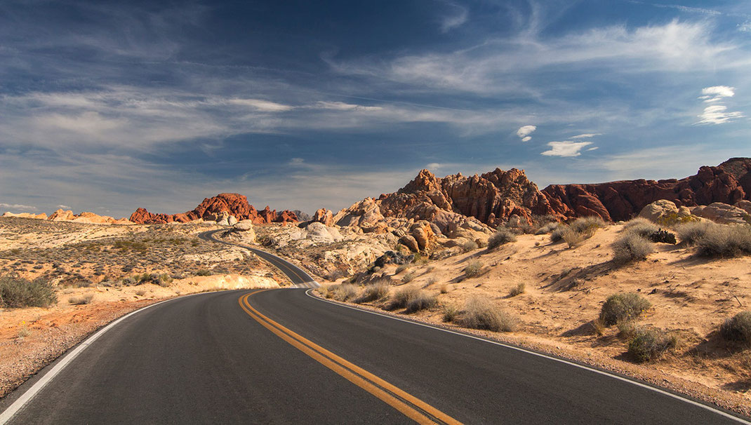 Winding road through colored rock formations, Valley of Fire, Las Vegas, Nevada, USA, 1280x725px