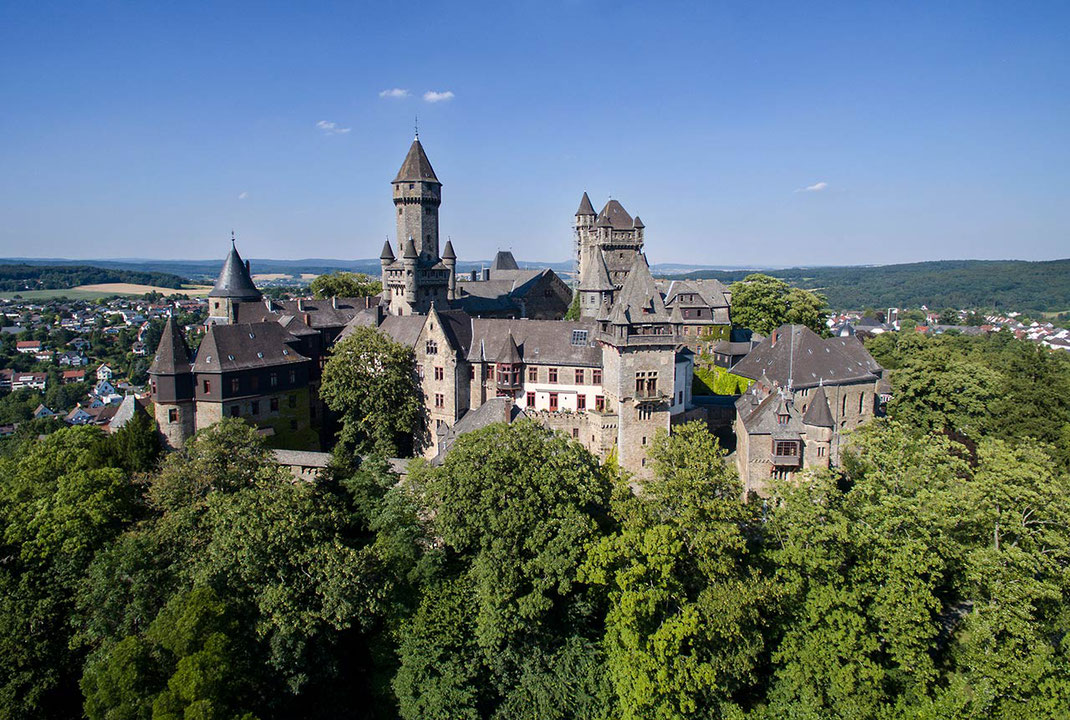 Beautiful Castle Braunfels surrounded by green trees on a hill, Dji Phantom, Drone, Germany, 1280x861px