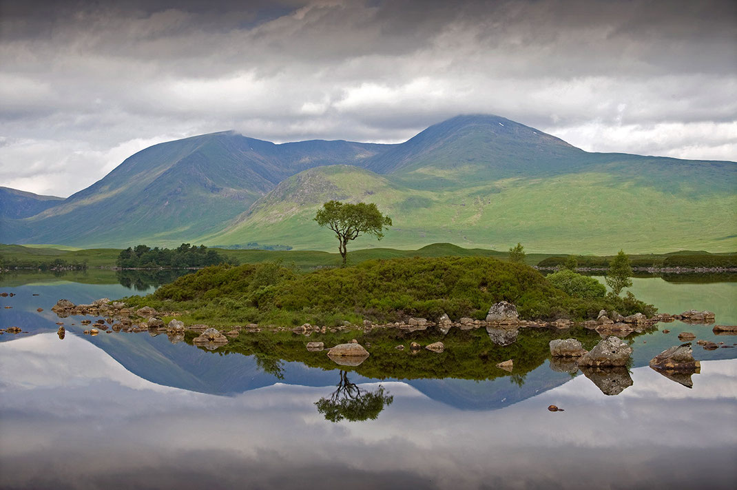 Scotland Glencoe Highlands lake with green hills and mountains with solitaire tree and reflections and clouds, 1280x850px