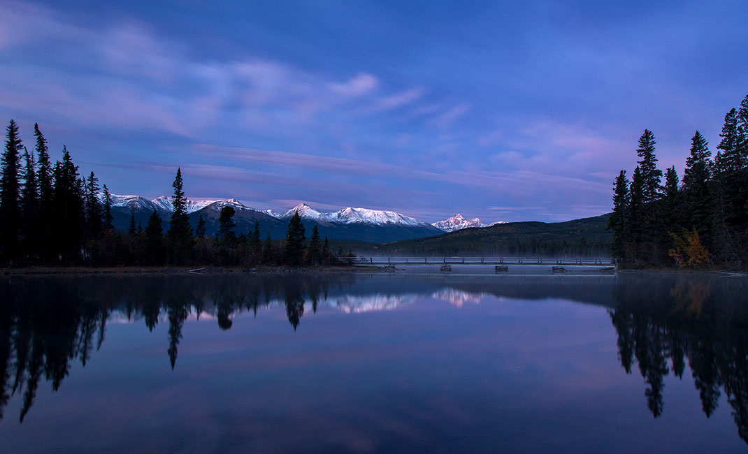Mountains landscape sunrise with blue color and reflection in Pyramid lake, Japer National Park, Alberta, Canada, 1280x777px