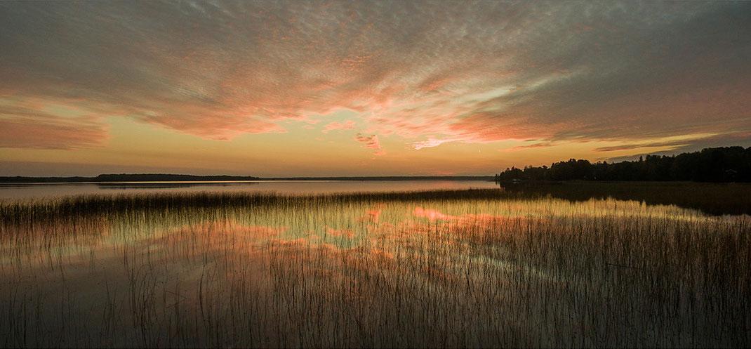 Bergby Gaevle at a lake during sunrise, panoramic, Dji Phantom, Drone, Southern Sweden,  1280x594px