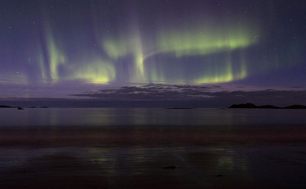 Aurora Borealis, Northern Lights at Ramberg Beach, Lofoten Islands, Arctic Circle, Norway, 1280x792px