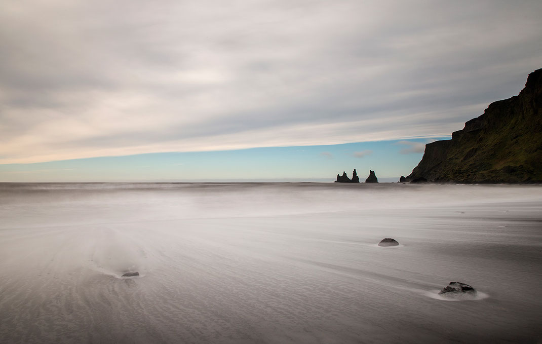 Rocks in the Ocean at Vik Black Sand Beach, Long Exposure Picture, Vik i Myrdal, Sudurland, Iceland