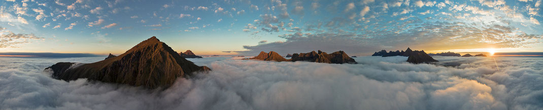 Mountain Peaks above the clouds, Aerial Picture with Dji Phantom, Drone, Lofoten, Norway, Panorama, 3000x610px