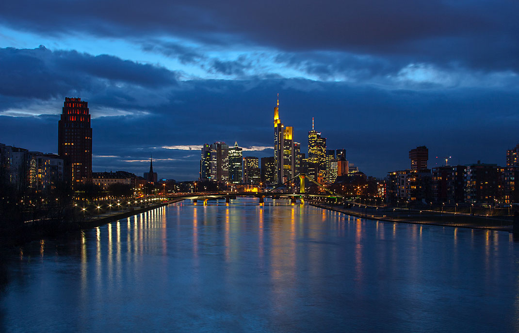 Downtown Frankfurt from Deutschherren Bruecke,Long Exposure, Illuminated Skyscrapers,Germany, 1280x822px