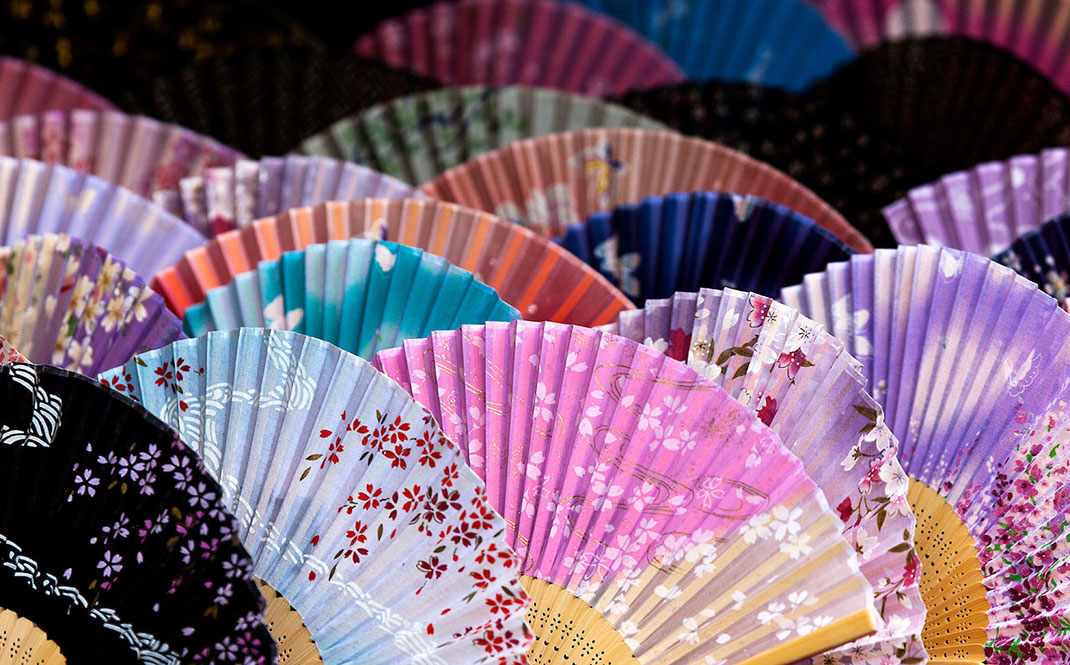 Traditional colorful Sensu, Hand Fans, Tourist, Souvenir Shop, Tokyo, Japan, Asia, 1280x795px