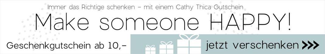 Link und Grafik zum Geschenkgutschein auf Cathy Thica Online Shop