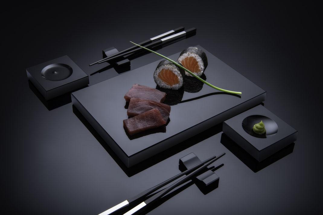 Sushi Set aus Schwarzglas von Black-Glass