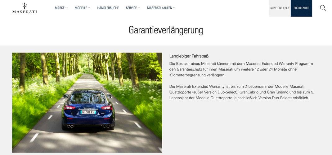 Maserati Garantieverlängerung - Extended Warranty