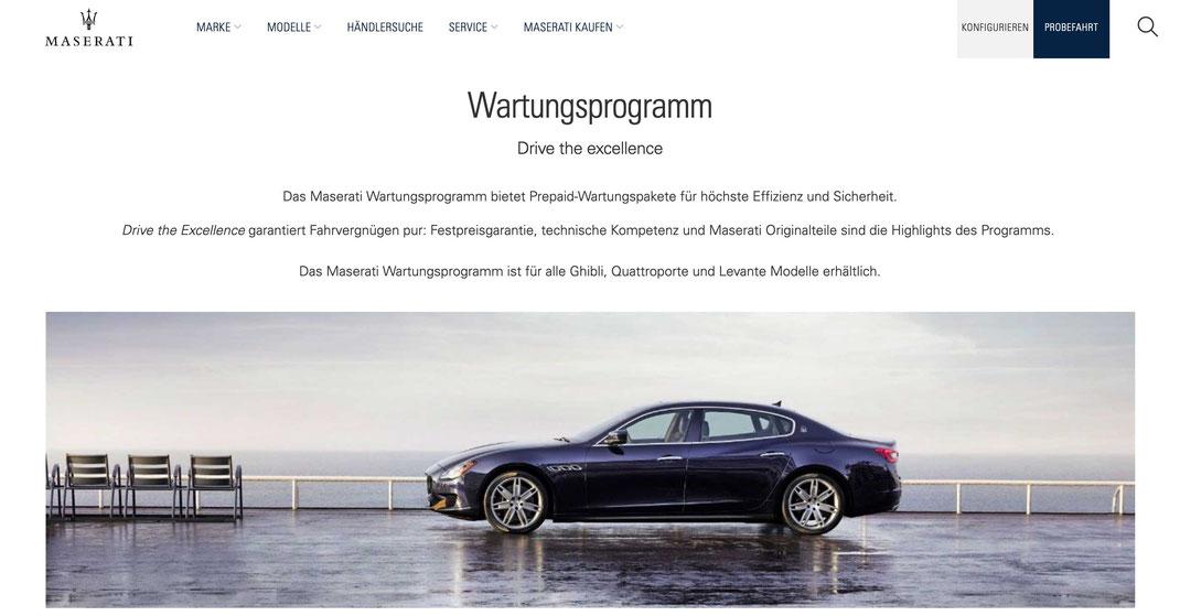Maserati Maintenance  Wartungsprogramm