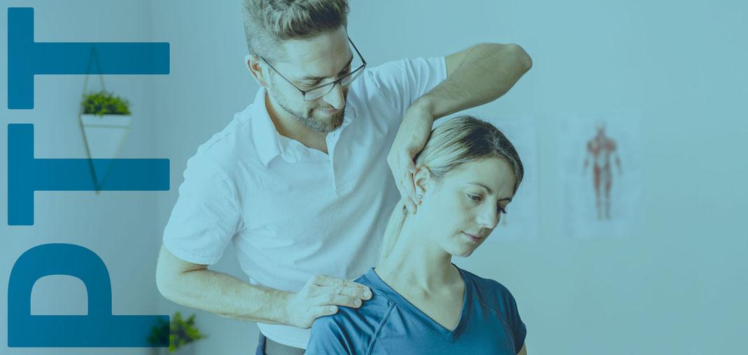 Physiotherapeut behandelt Patentin