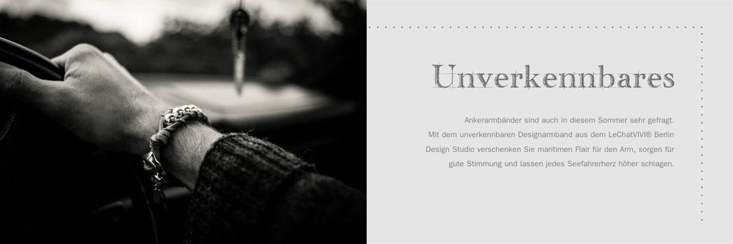 Lederarmband für Männer Herren Design Berlin LeChatVIVI Anker Silber Armband braun