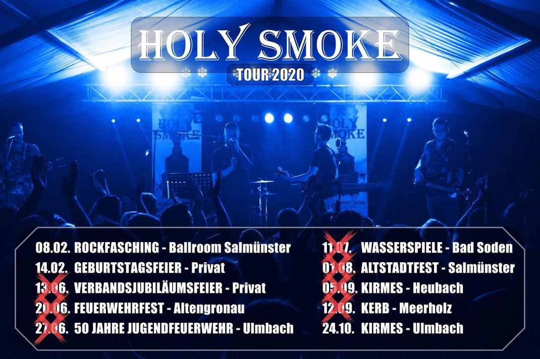 Holy Smoke Partyband Main-Kinzig-Kreis Live Tour 2020