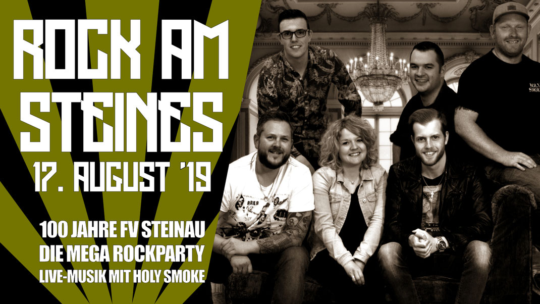 Rock Am Steines - 100 Jahre FV Steinau. Live-Musik mit Rock- und Partyband Holy Smoke aus Hessen
