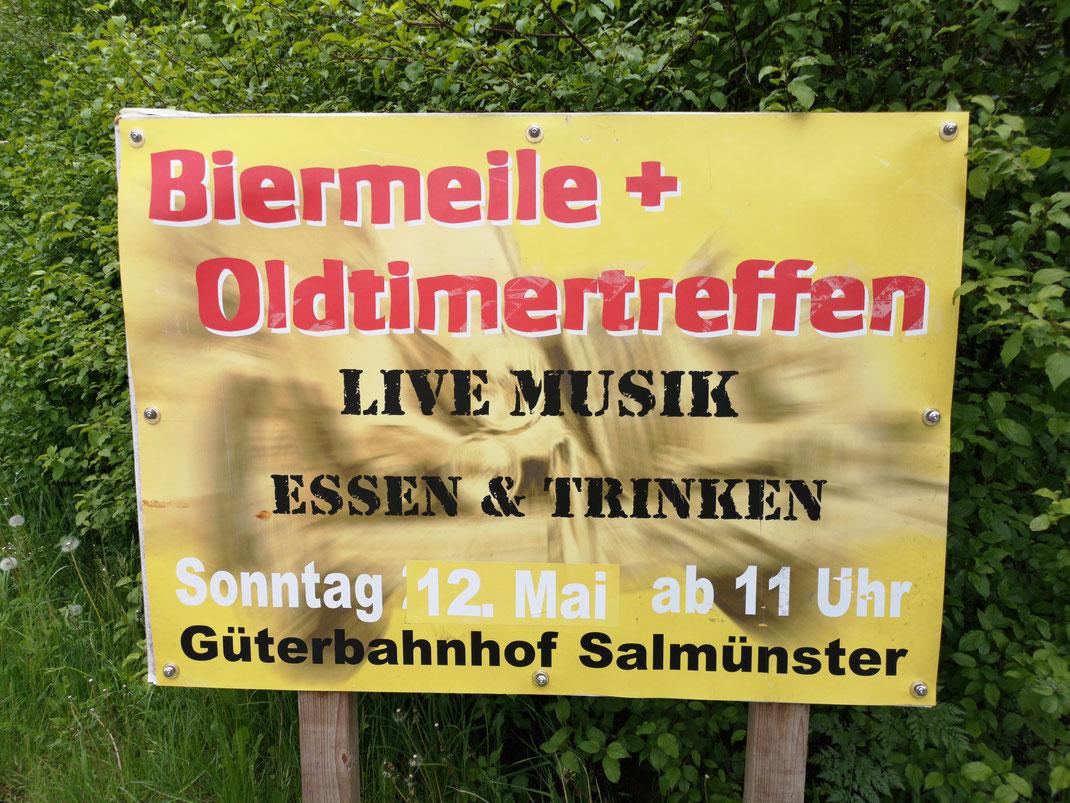 Biermeile und Oldtimertreffen Güterbahnhof Salmünster. Live Musik mit Rock und Partyband Holy Smoke