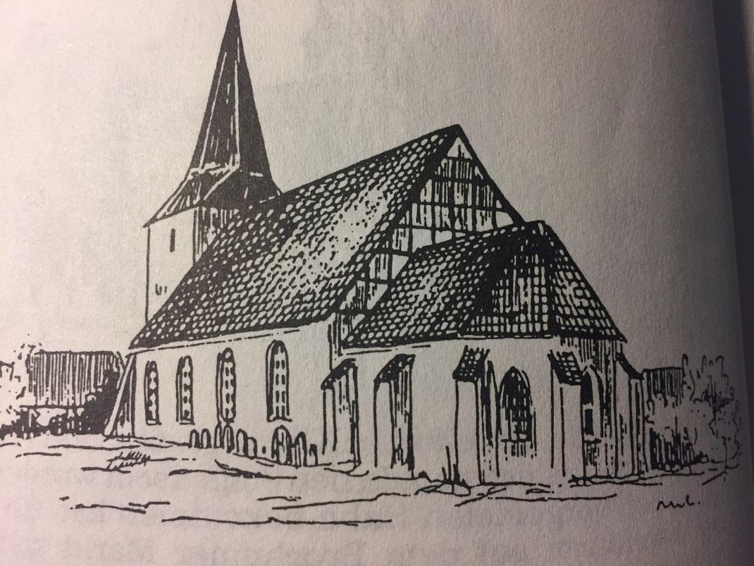 Ein Linolschnitt der Burlager Kirche